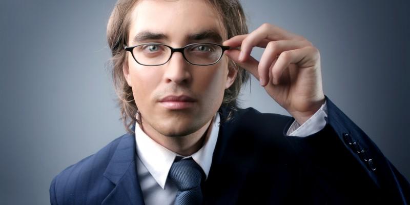 handsome businessman in attention gesture